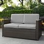 Palm Harbor Wicker Loveseat with Gray Cushions