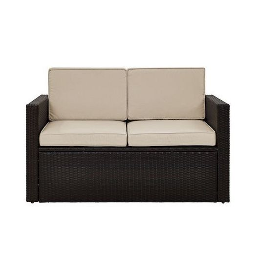 Crosley - Palm Harbor Wicker Loveseat with Gray Cushions - 452307