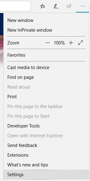 Screenshot of the Settings menu.