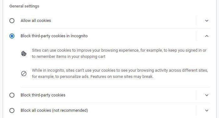 A screen shot of the Cookies section.