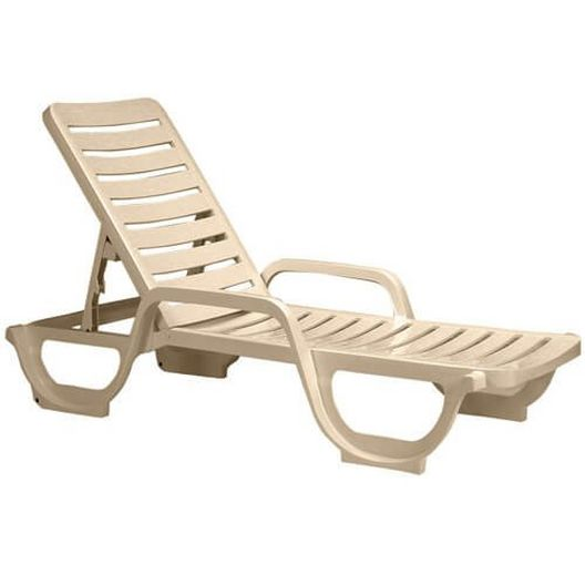 Grosfillex - Bahia Commercial-Grade Resin Chaise Lounge, Sand - 86764