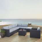Biscayne Mist 6-Piece Wicker Set with Two Loveseats, One Armless Chair, One Arm Chair, Coffee Table and Ottoman
