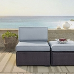 Biscayne Wicker Armless Chair with White Cushions