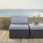 Biscayne Wicker Armless Chair with Mist Cushions