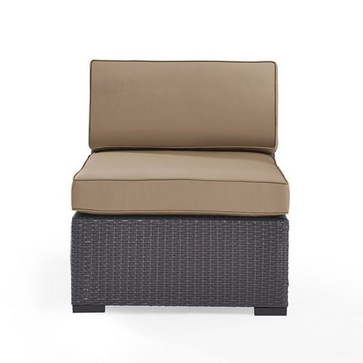 Crosley  Biscayne Wicker Armless Chair with Mist Cushions