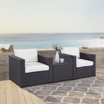 Biscayne 3 Piece Wicker Set with White Cushions - 2 Chairs and Coffee Table