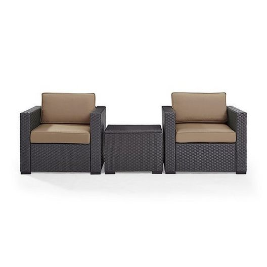 Biscayne 3 Piece Wicker Set with Mist Cushions - 2 Chairs and Coffee Table