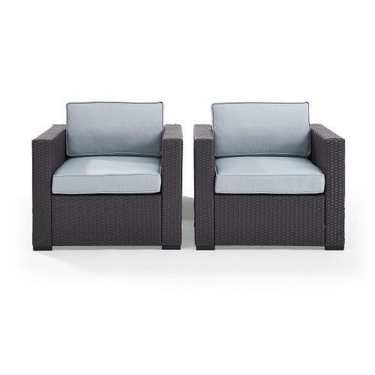 Biscayne 2 Person Wicker Set with Mist Cushions