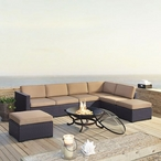 Biscayne Mocha 6-Piece Wicker Set with Two Loveseats, One Armless Chair, Two Ottomans and Fire Pit