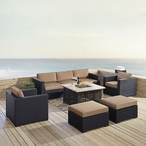 Biscayne Mocha 7-Piece Wicker Set with One Loveseat, One Corner Chair, Two Arm Chairs, Two Ottomans and Fire Table