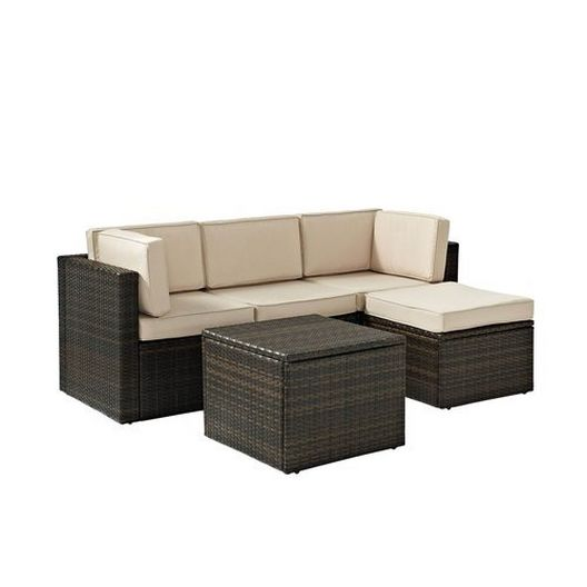 Crosley - Palm Harbor 5-Piece Wicker Set and Sand Cushions with Two Corner Chairs, Center Chair, Ottoman and Table - 452262