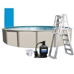 "Weekender 18' Round Above Ground Pool Package with 12"" Sand Filter System"