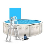 """Weekender Deluxe 24' Round Above Ground Pool Package with Upgraded 15"""" Sand Filter System"""