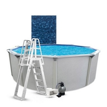 """PoolSupplyWorld - Weekender Signature 18' Round Above Ground Pool Package with Upgraded 14"""" Waterway Filter System"""