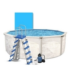 """Weekender 18' Round Above Ground Pool Package with 12"""" Sand Filter System"""