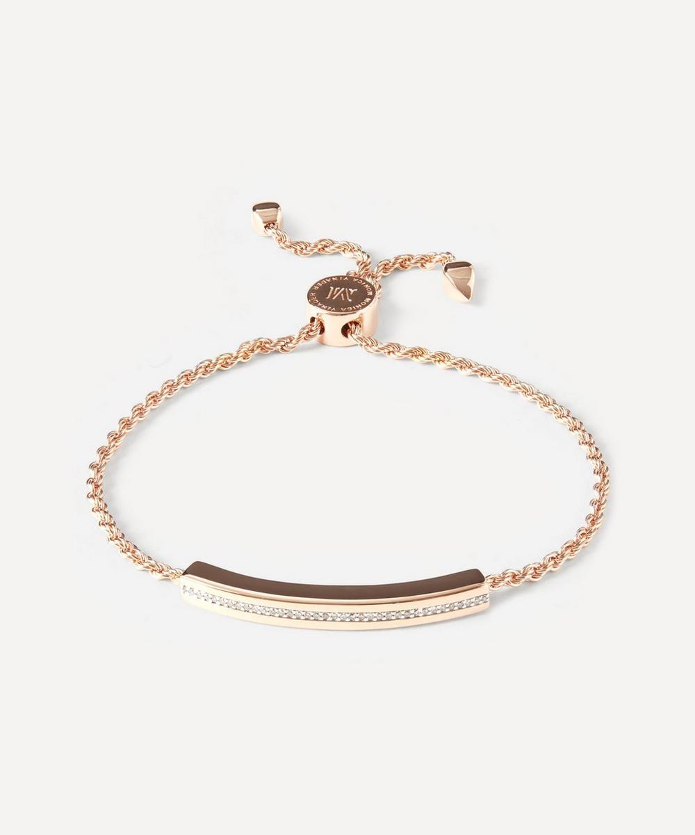 Monica Vinader - Rose Gold Plated Vermeil Silver Linear Diamond Chain Friendship Bracelet