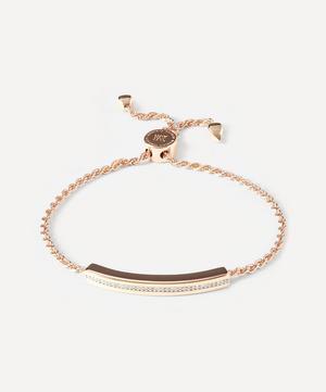 Rose Gold Plated Vermeil Silver Linear Diamond Chain Friendship Bracelet