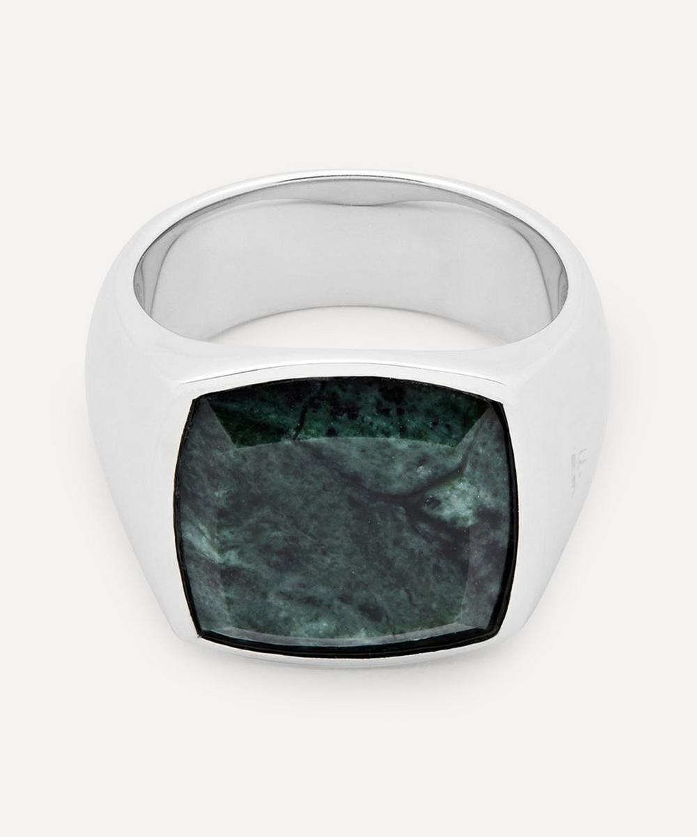 Tom Wood - Silver Green Marble Cushion Ring