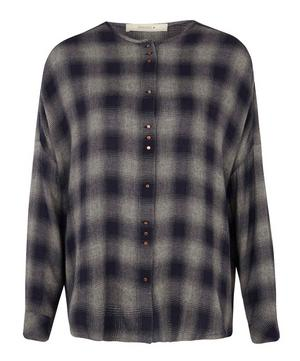 Catalina Faded Check Wool-Blend Blouse