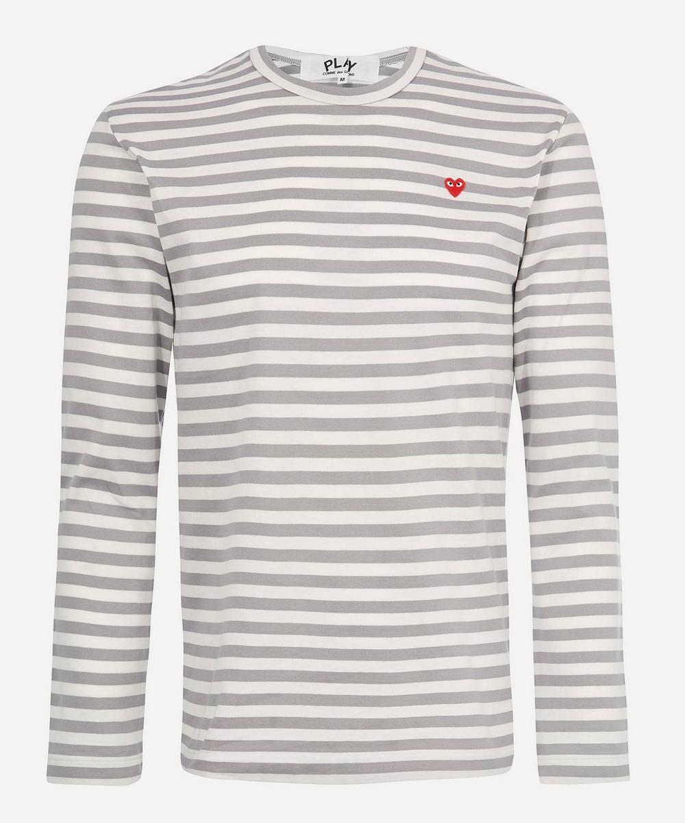 Comme des Garçons Play - Stripe Heart Logo Long-Sleeve T-Shirt