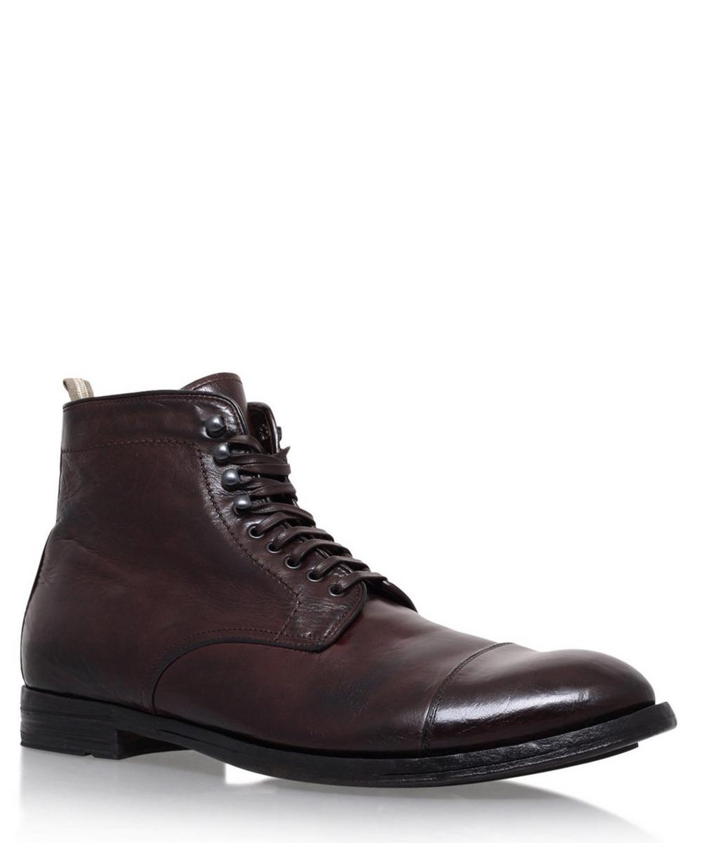 Officine Creative - Leather Toe Cap Lace-Up Boots