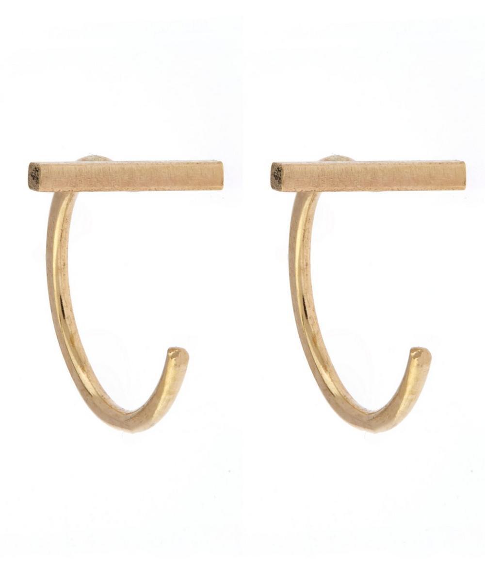 Melissa Joy Manning - Gold Bar Hug Hoop Earrings