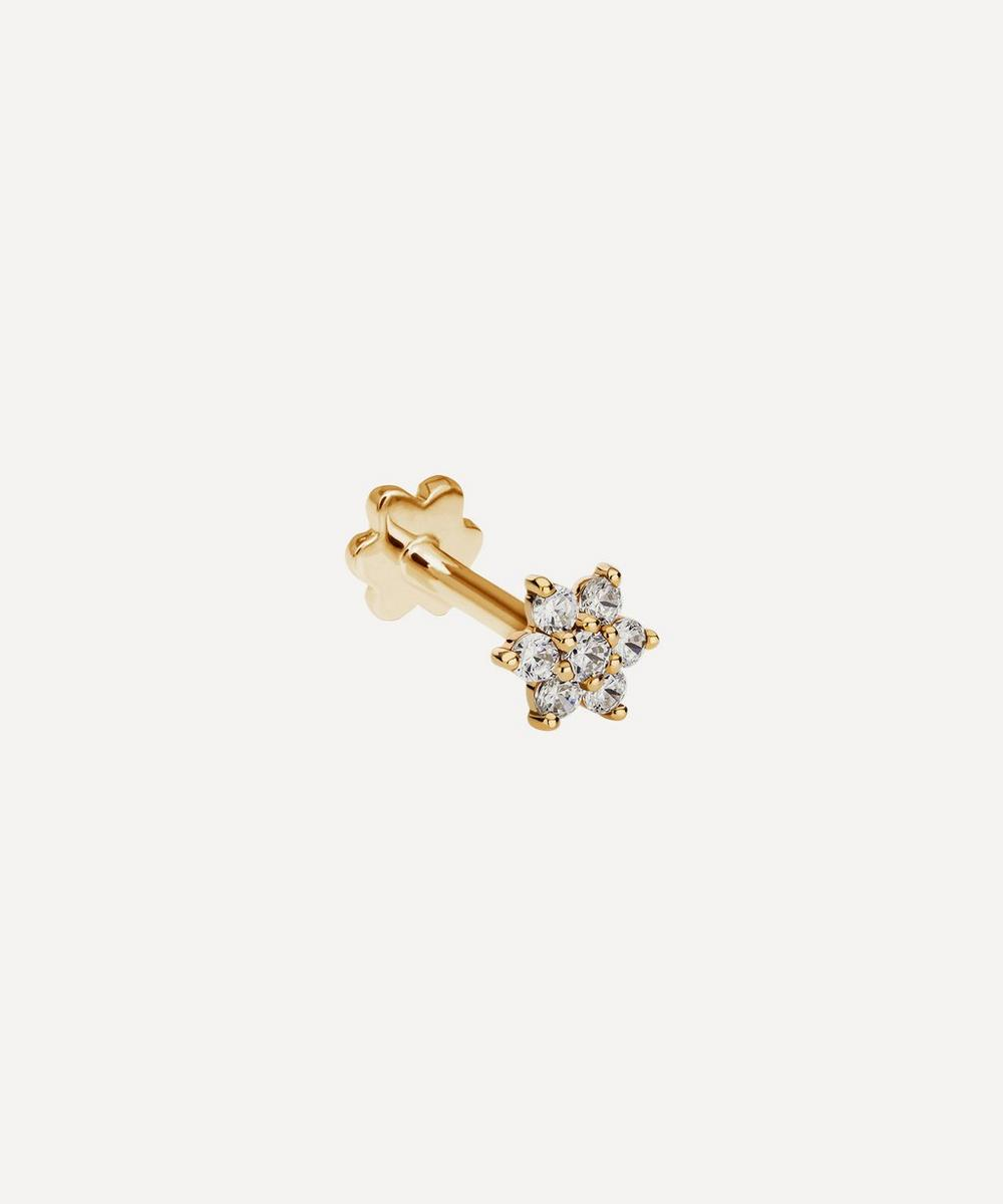 Maria Tash - 4.5mm Diamond Flower Threaded Stud Earring