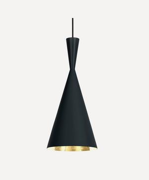 Tall Black Beat Pendant Light
