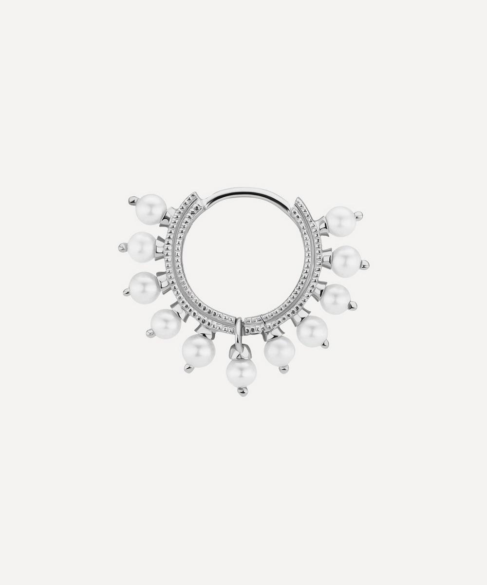 "Maria Tash - 5/16"" Pearl Coronet Hoop Earring"
