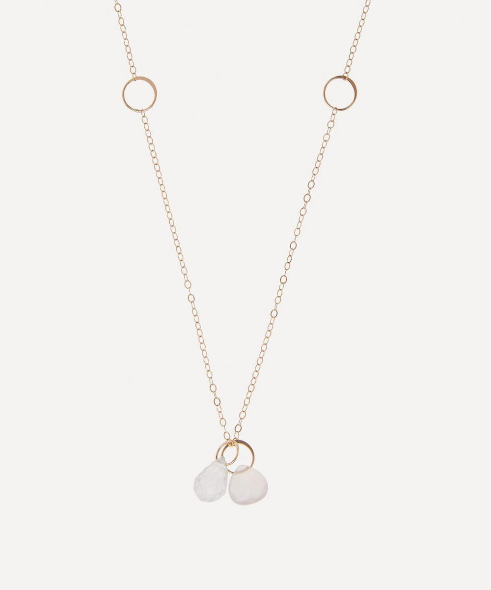 Melissa Joy Manning - Gold Rainbow Moonstone and Pink Chalcedony Necklace