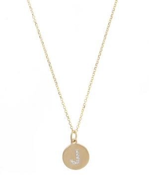 Gold and Diamond Letter J Disc Pendant Necklace