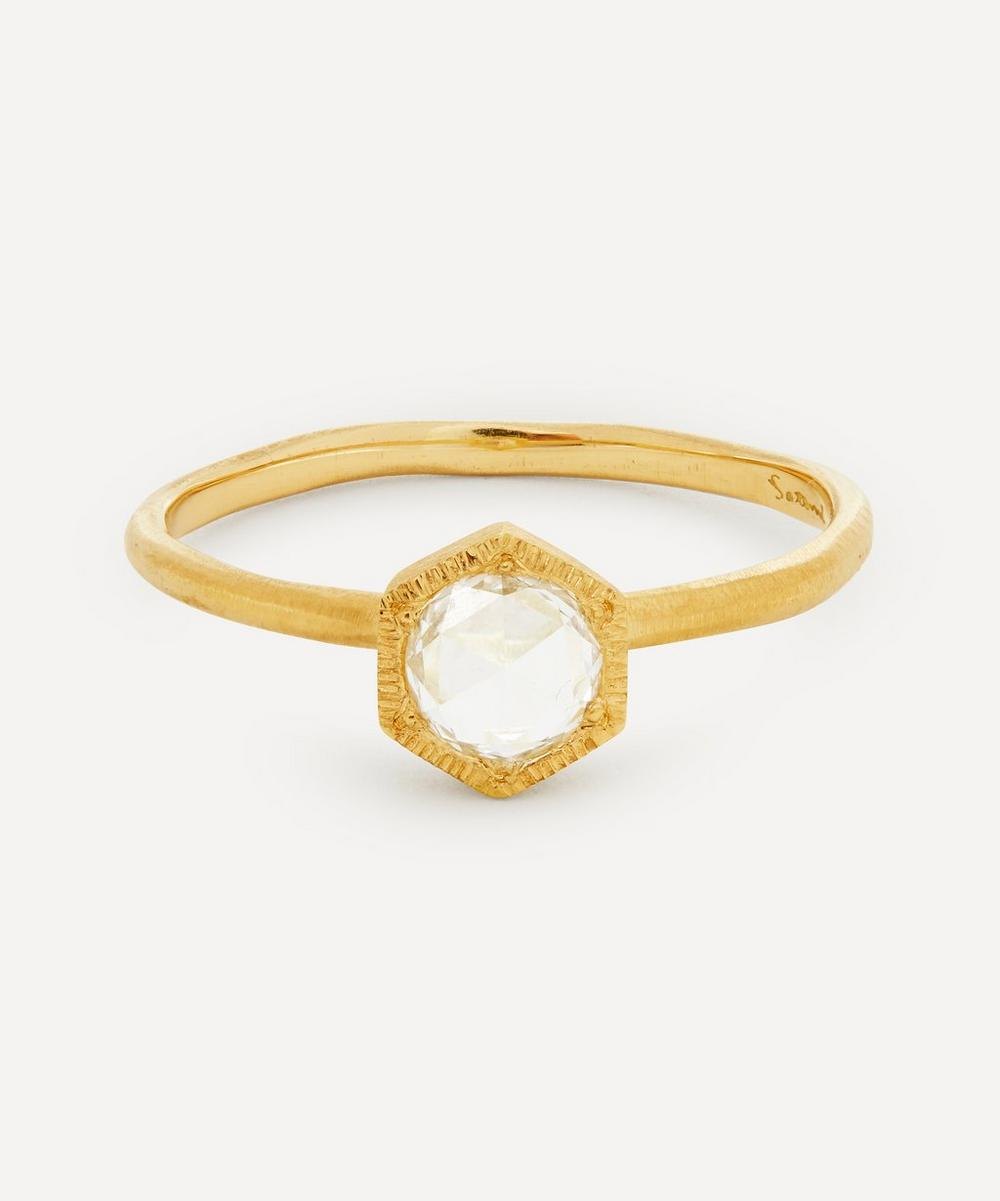 Satomi Kawakita - Gold Rose Cut Diamond Hexagon Solitaire Ring