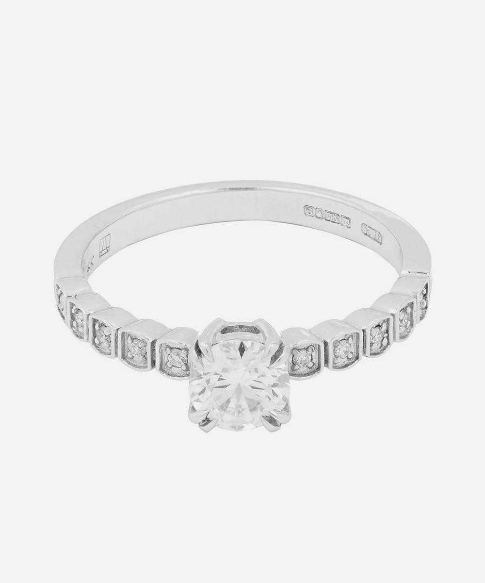 Anna Sheffield - White Gold Tiny Wheat Diamond Engagement Ring