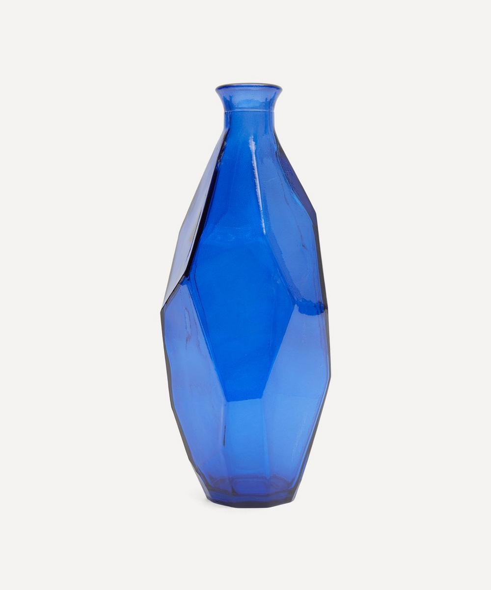 San Miguel Recycled Glass - Blue Origami Vase 31cm