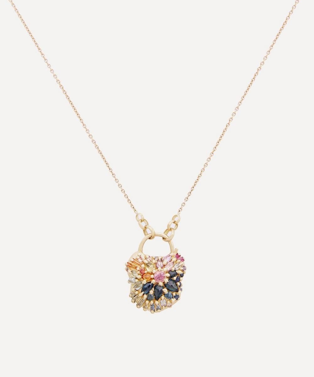Polly Wales - Gold D'Ornano Rainbow Sapphire Medium Padlock Pendant Necklace
