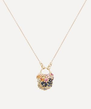 Gold D'Ornano Rainbow Sapphire Medium Padlock Pendant Necklace