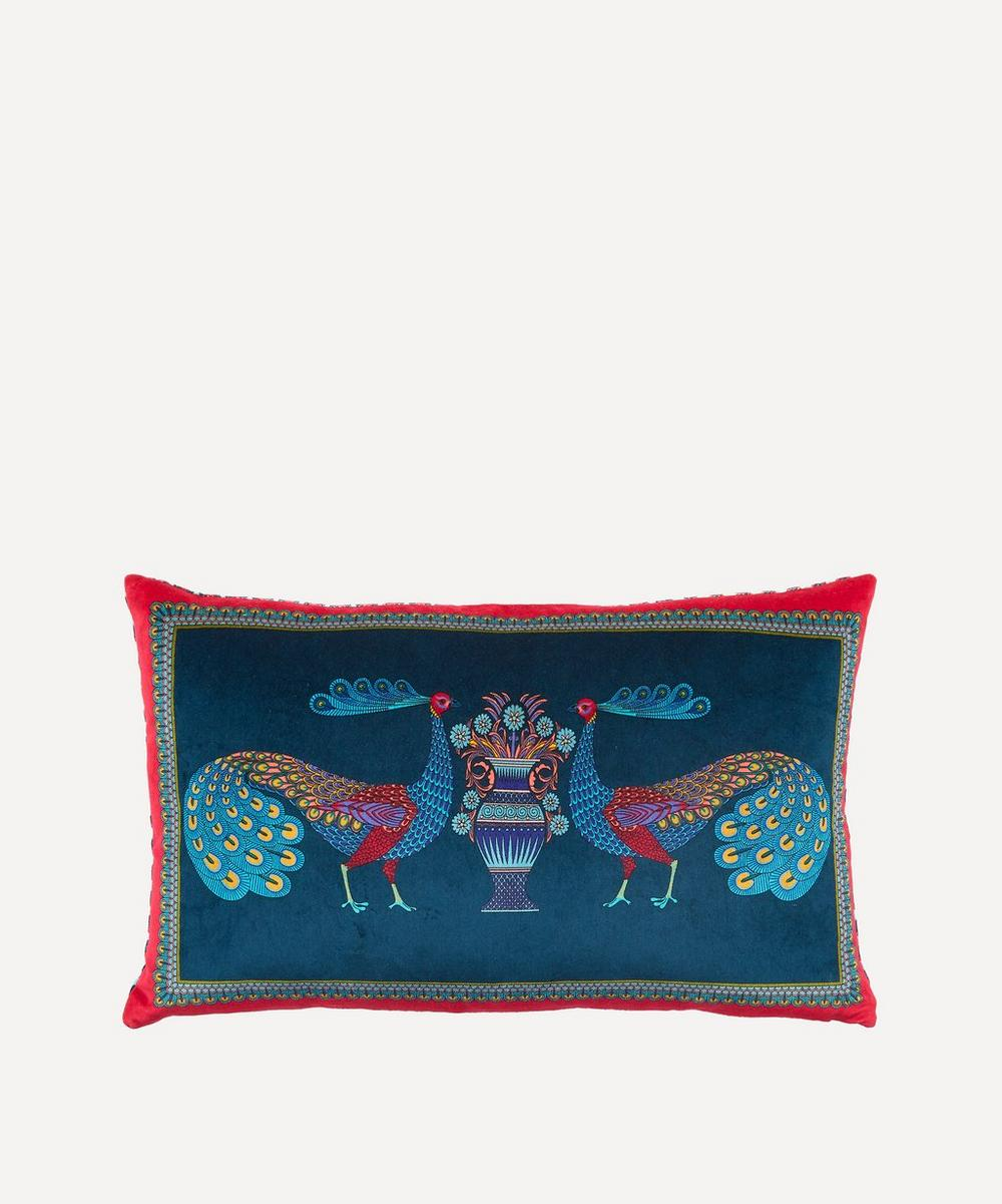 Liberty - Peacock Garden Velvet Bolster Cushion