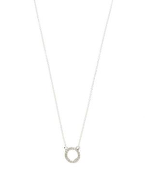 Silver Riva Mini Circle Diamond Necklace