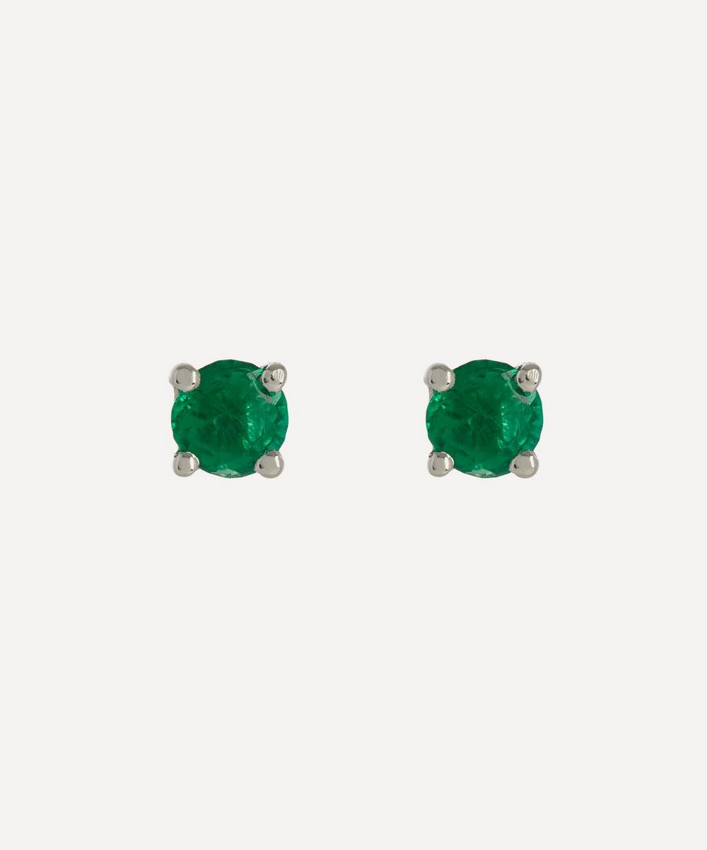 Kojis - White Gold Emerald Stud Earrings