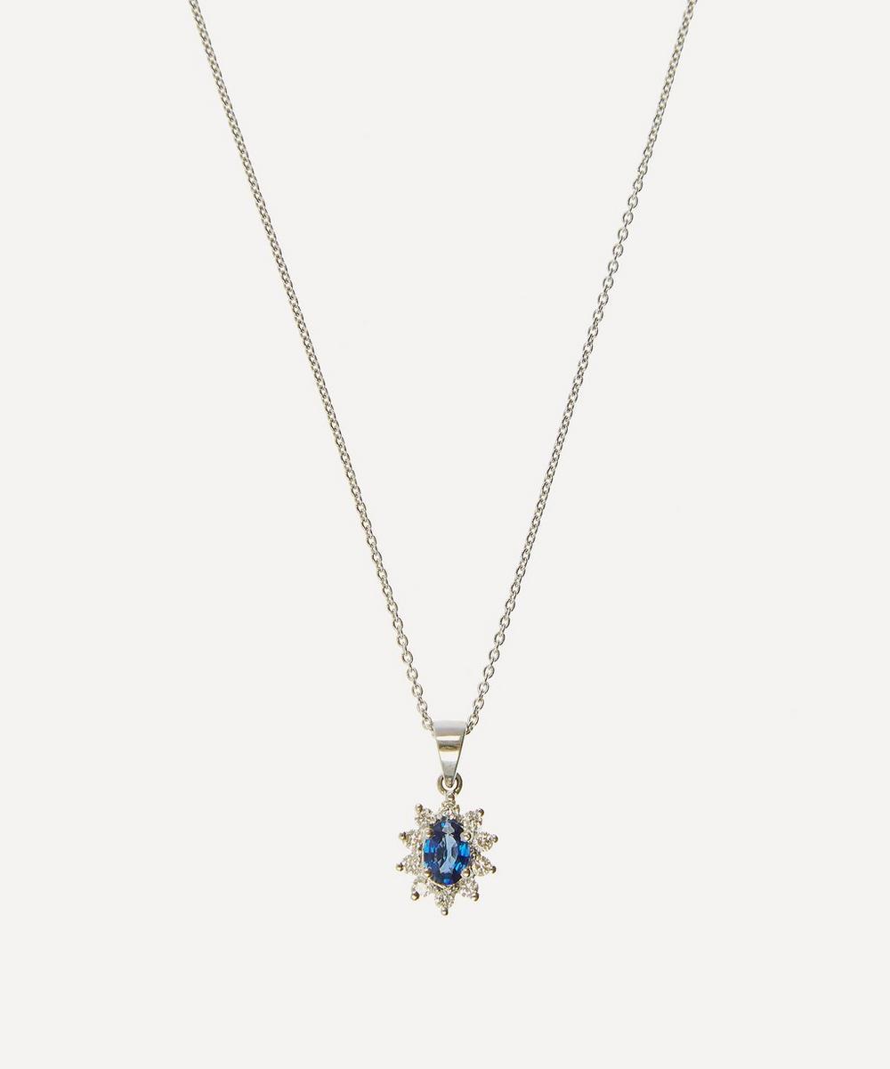 Kojis - White Gold Diamond Sapphire and Diamond Cluster Pendant Necklace