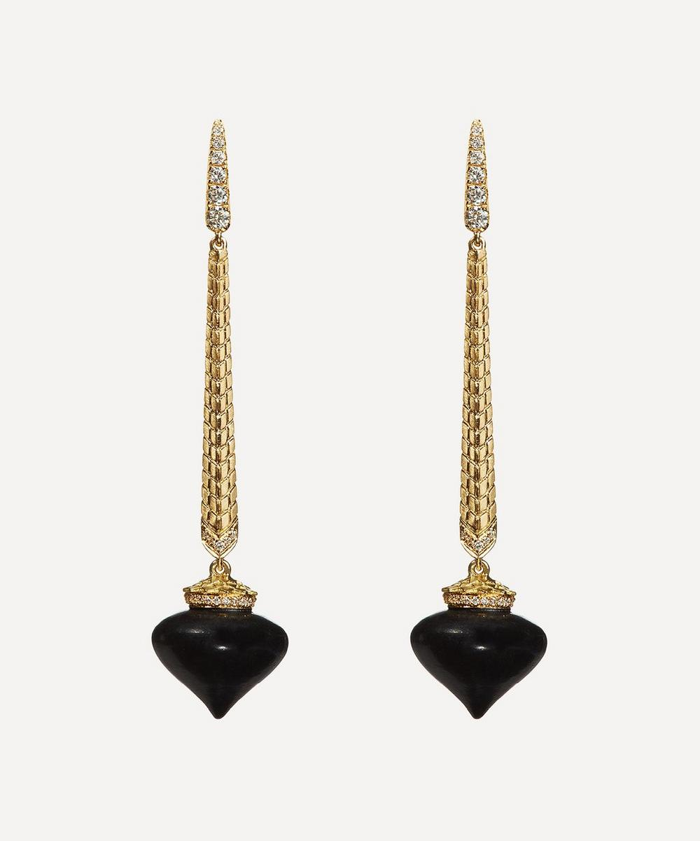 Annoushka - 18ct Gold Touch Wood Ebony and Diamond Drop Earrings