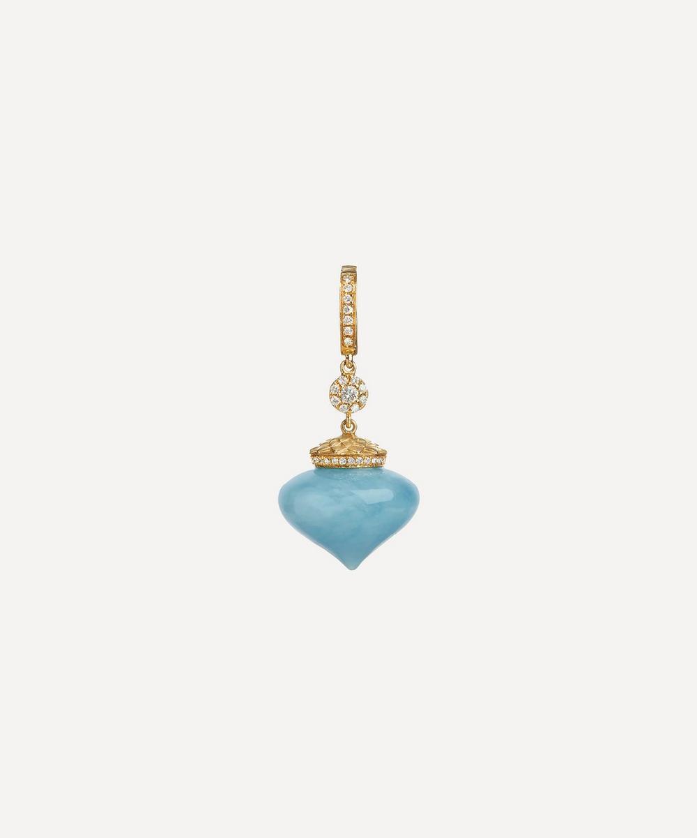 Annoushka - 18ct Gold Touch Wood Diamond and Aquamarine Charm