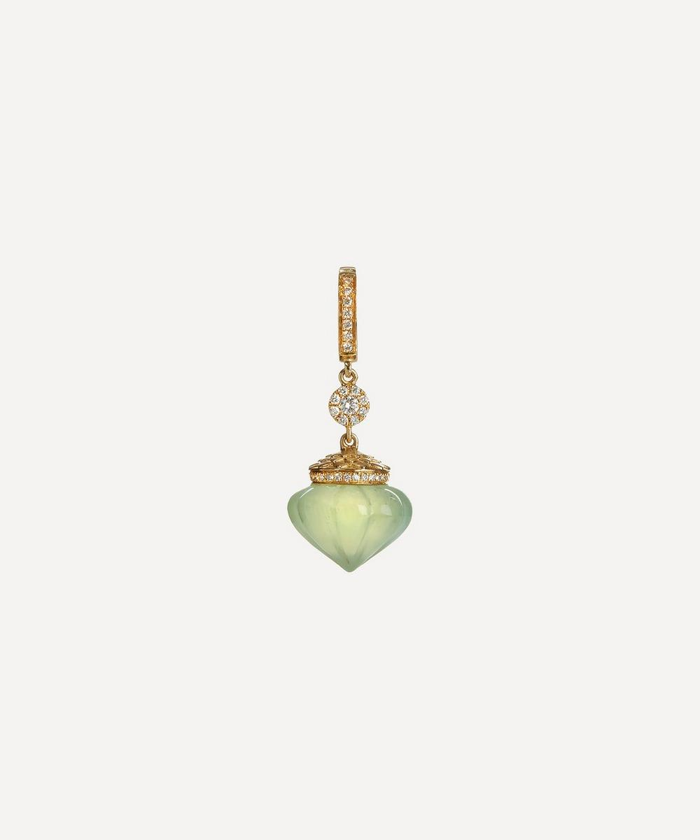Annoushka - 18ct Gold Touch Wood Diamond and Prehnite Charm