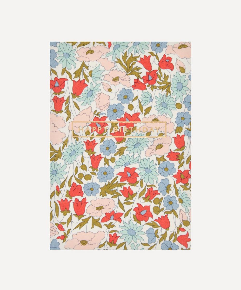 Liberty London - Poppy Daisy Cotton-Covered Happy Birthday Card