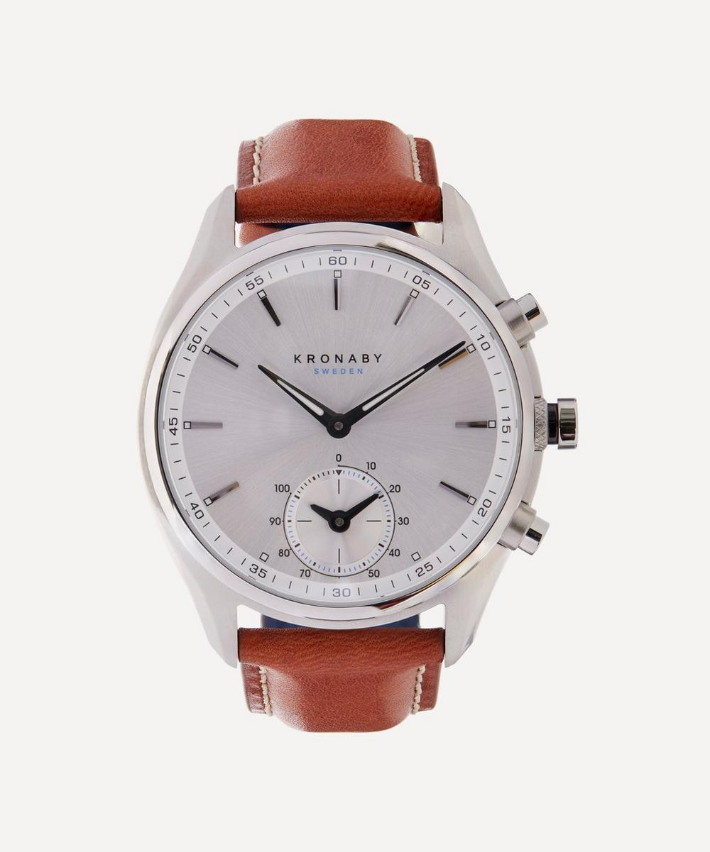 Kronaby - Sekel Stainless Steel Leather Strap Smart Watch