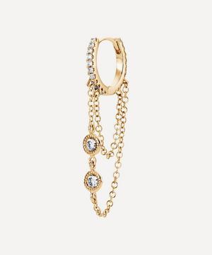 8mm Double Chain Diamond Eternity Hoop Earring