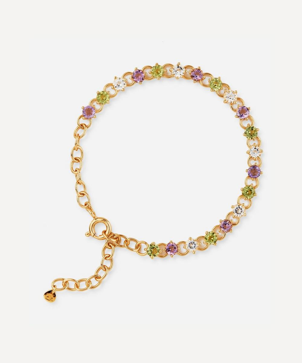 Dinny Hall - Gold Plated Vermeil Silver Suffragette Gem Drop Line Bracelet