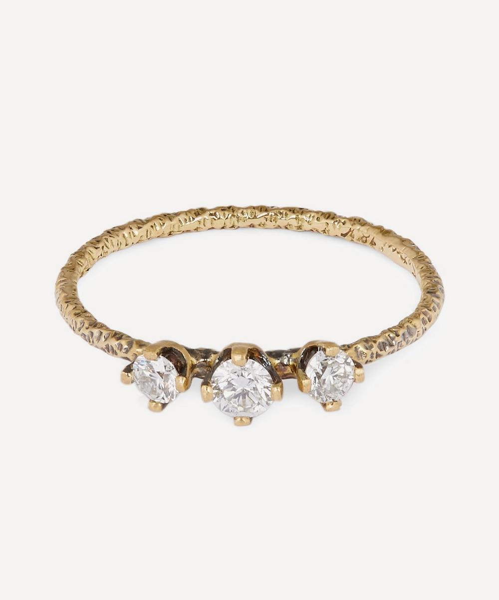 Satomi Kawakita - Gold Homespun Three-Stone White Diamond Ring