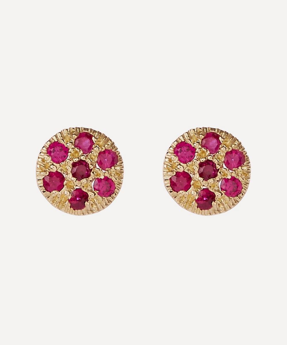 Satomi Kawakita - Ruby Disc Stud Earrings