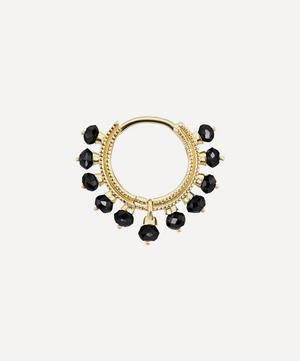 8mm Black Diamond Coronet Hoop Earring